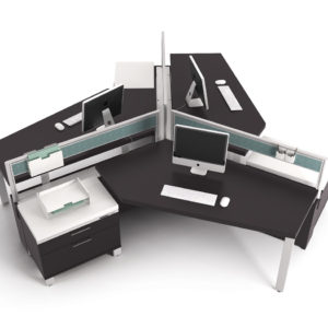 3 Pod Workstation with Wing-Shaped Surfaces