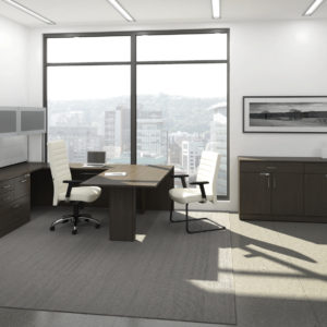 U-Shaped Desk with Flipper Door Hutch